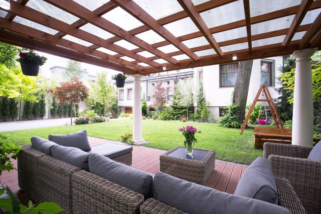 Modern arbour with garden furniture
