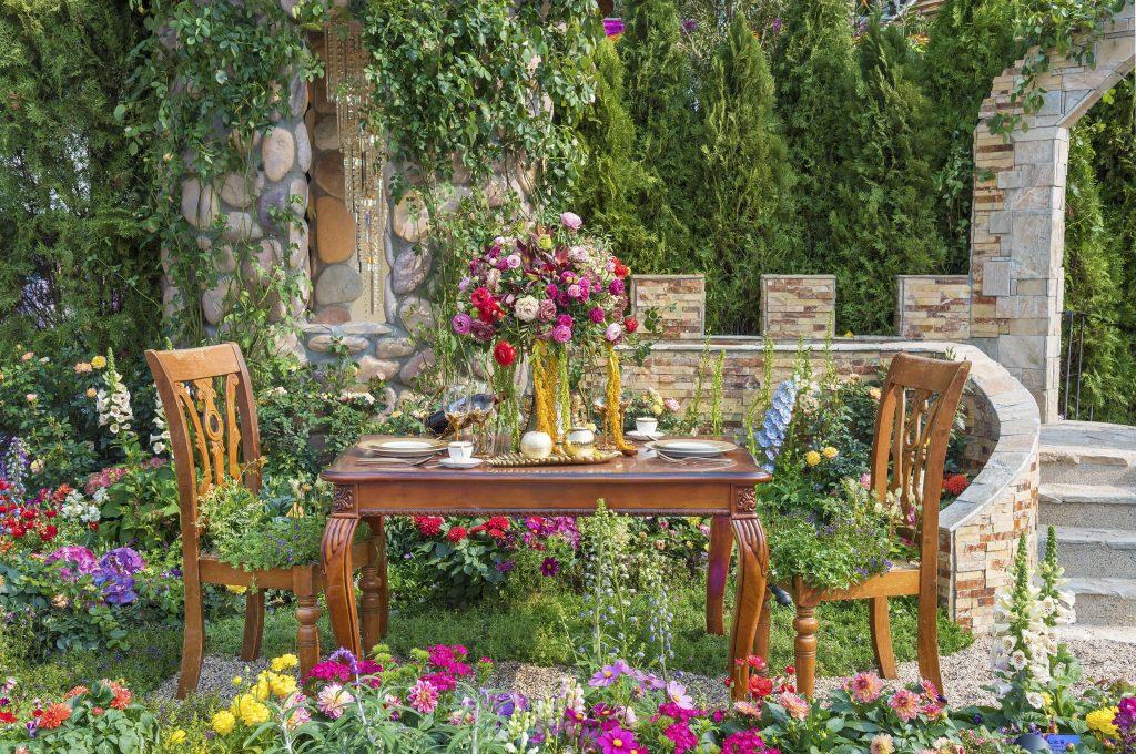 Landscaped backyard flower garden