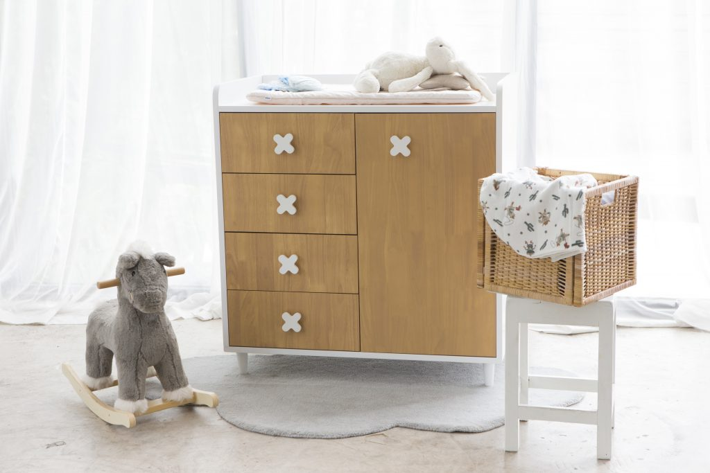 Wood design kid cupboard and drawer with a diaper changing on top