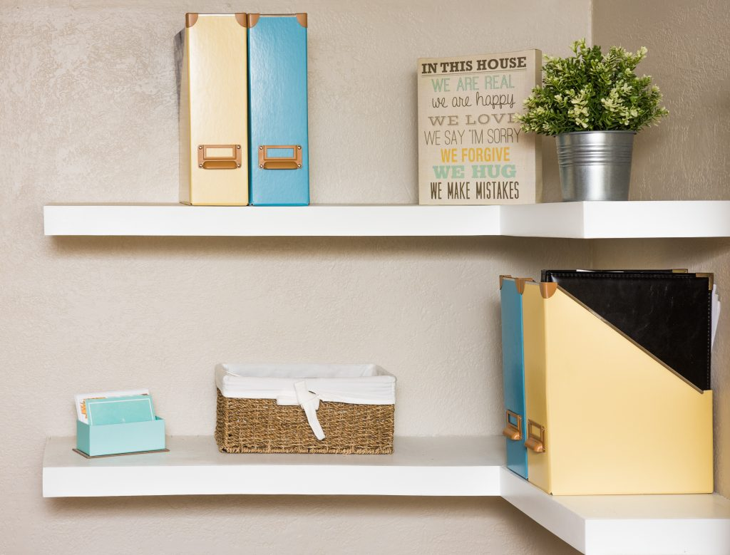Double white floating shelf