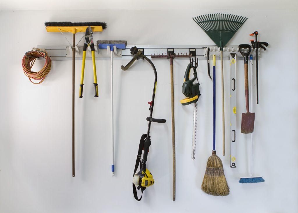 Neat garage tool hanging storage