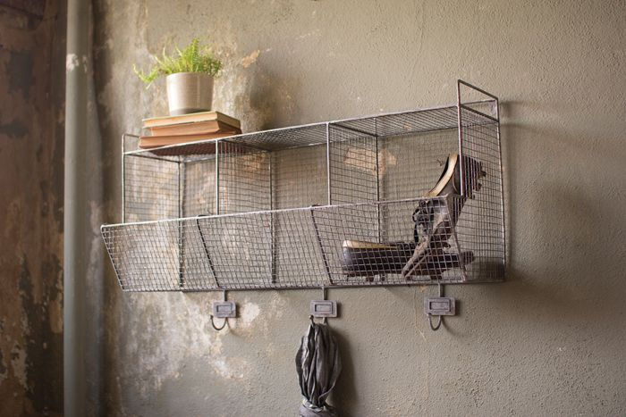 hook baskets to shelves