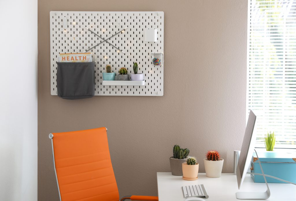 Modern workplace and pegboard with different cacti in room