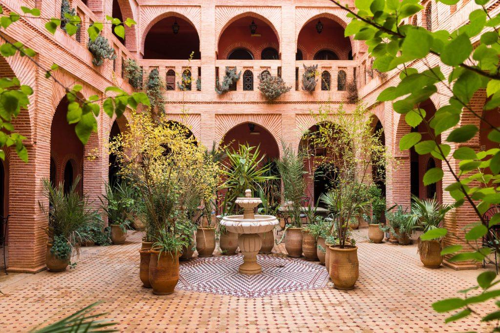 beautiful garden inside moroccan courtyard, marrakech