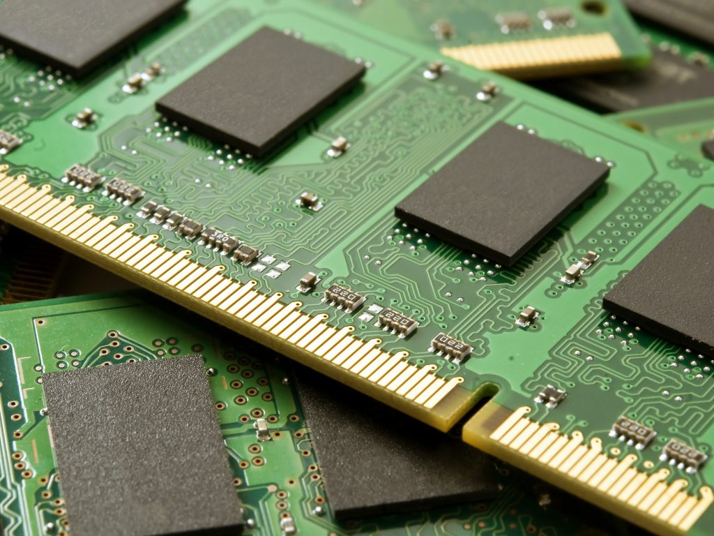 Detail of a stack of so-dimm memory modules
