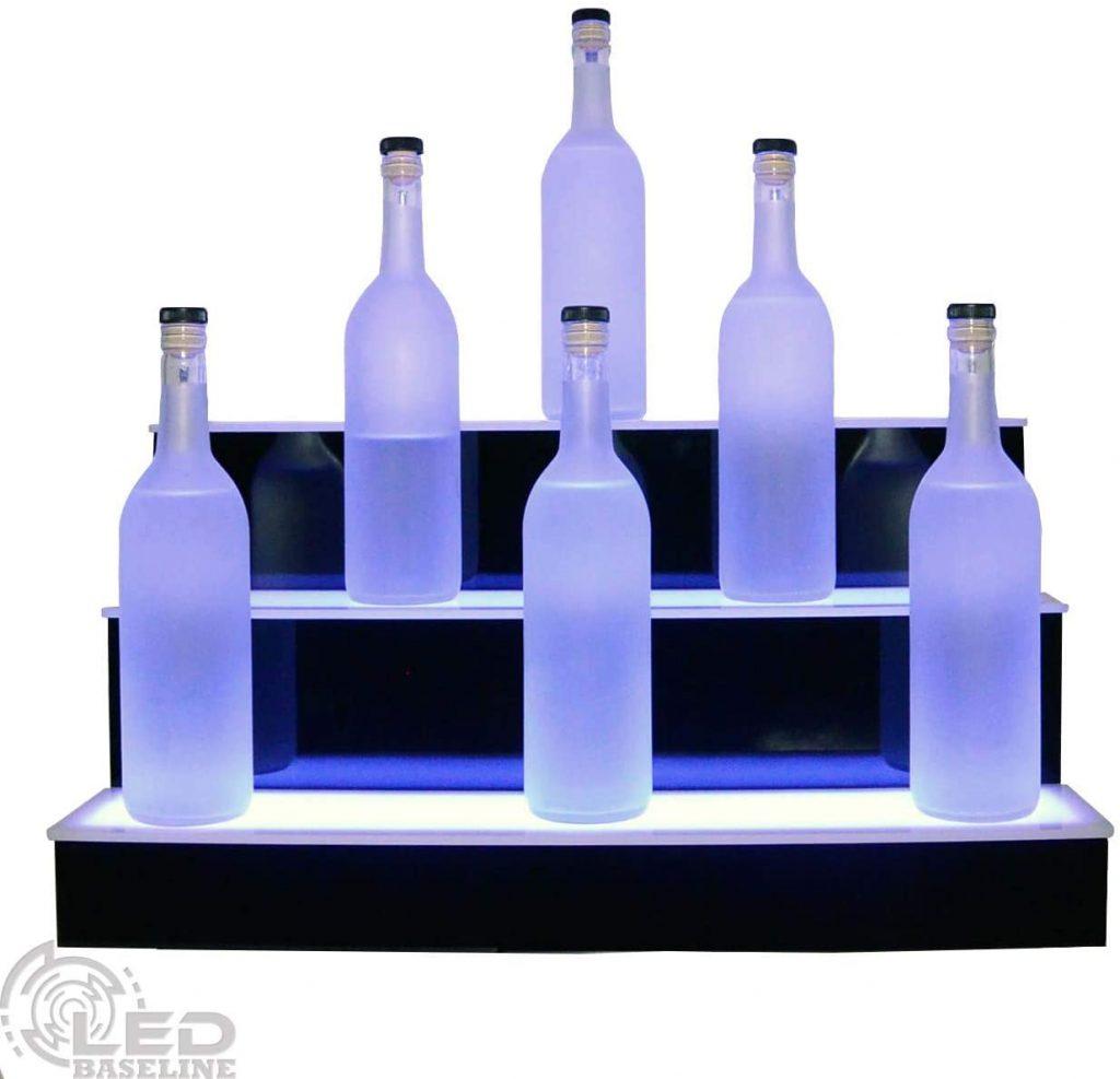 """24"""" 3 Step Lighted Liquor Bottle Display Shelf"""
