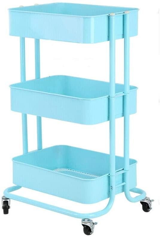 AyaMastro Rolling 3Tier Kitchen Island Storage Shelf Cart