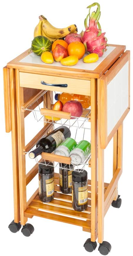 Henf Portable Rolling Drop Leaf Kitchen Storage Trolley