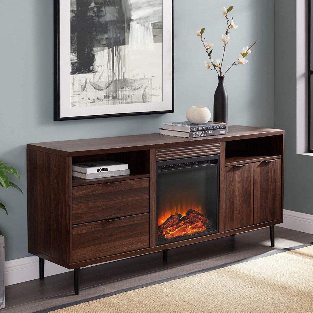 Modern Storage Fireplace Console