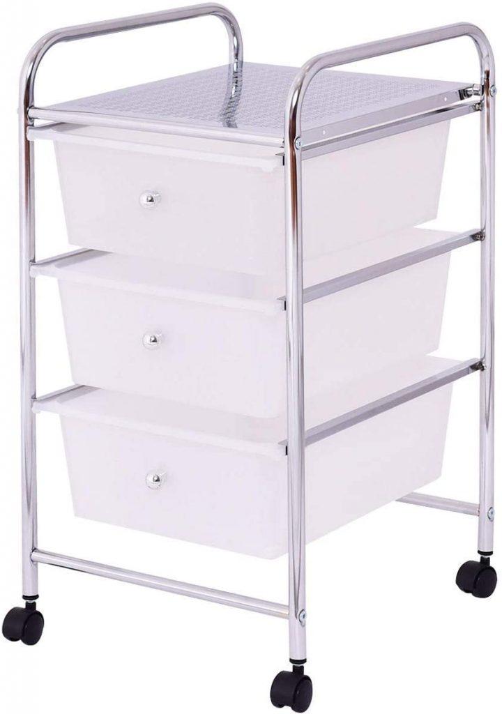 LordBee New 3 Drawers White Metal Rolling Storage Cart