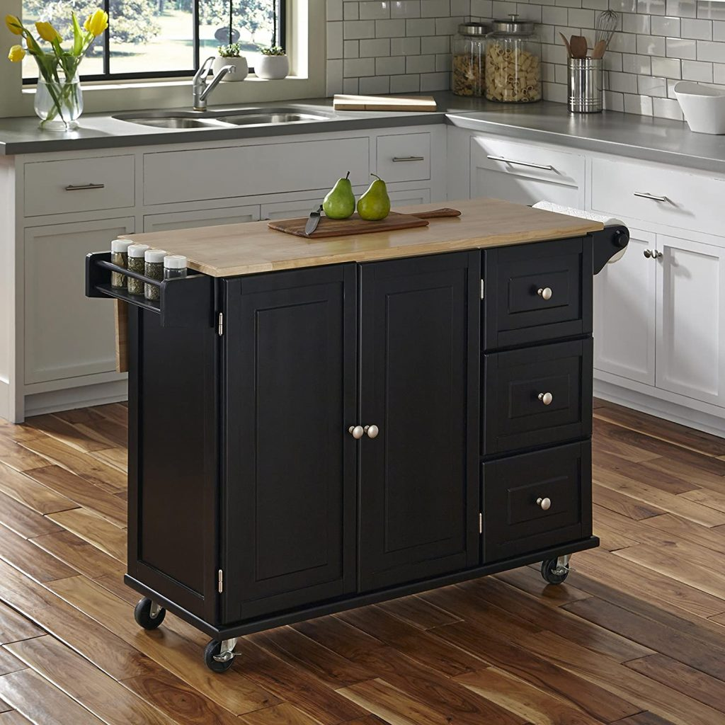 Liberty Black Kitchen Cart with Wood Top