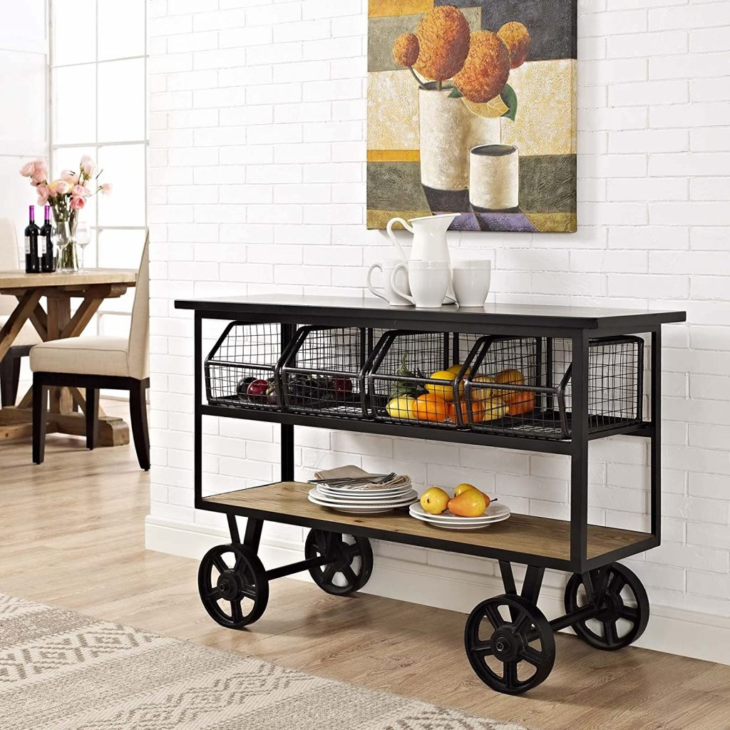 Modway Fairground Rustic Farmhouse and Steel Rolling Cart