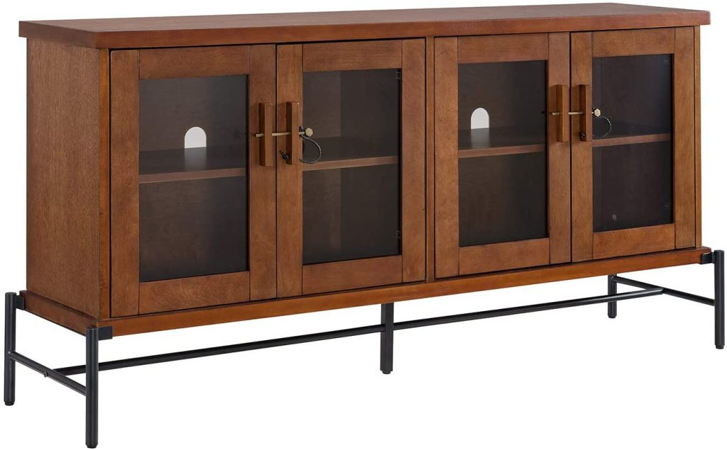 Sideboard Buffet with Glass Doors - Credenza Storage Cabinet