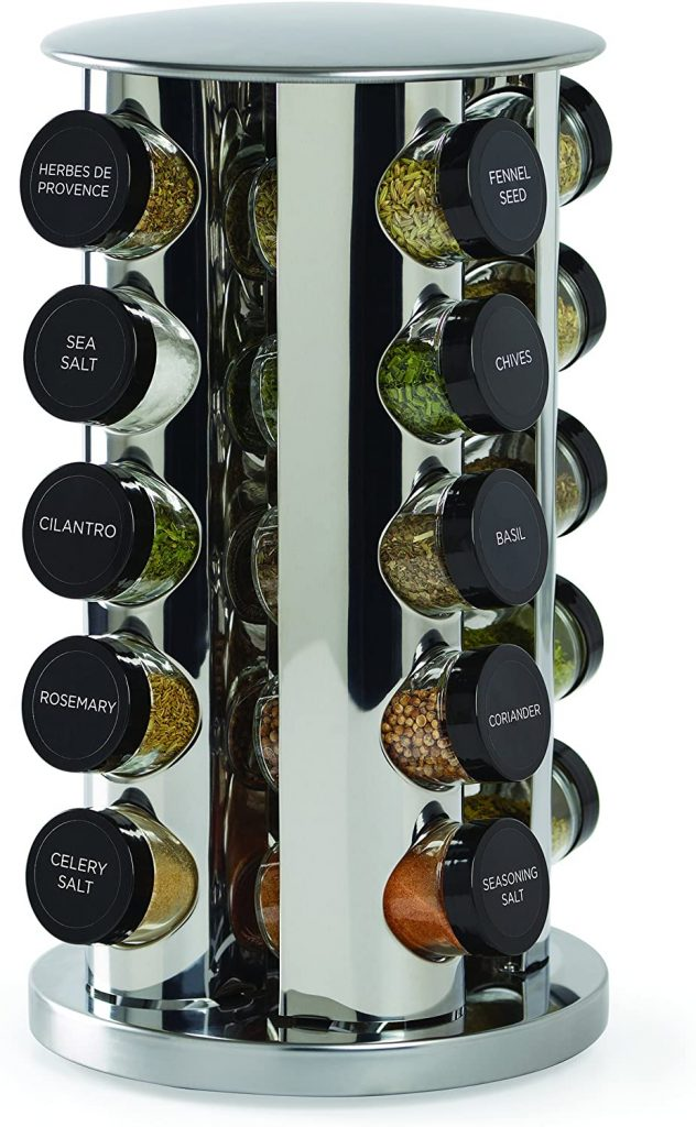 Kamenstein 30020 Revolving 20-Jar Countertop Spice Rack Tower Organizer