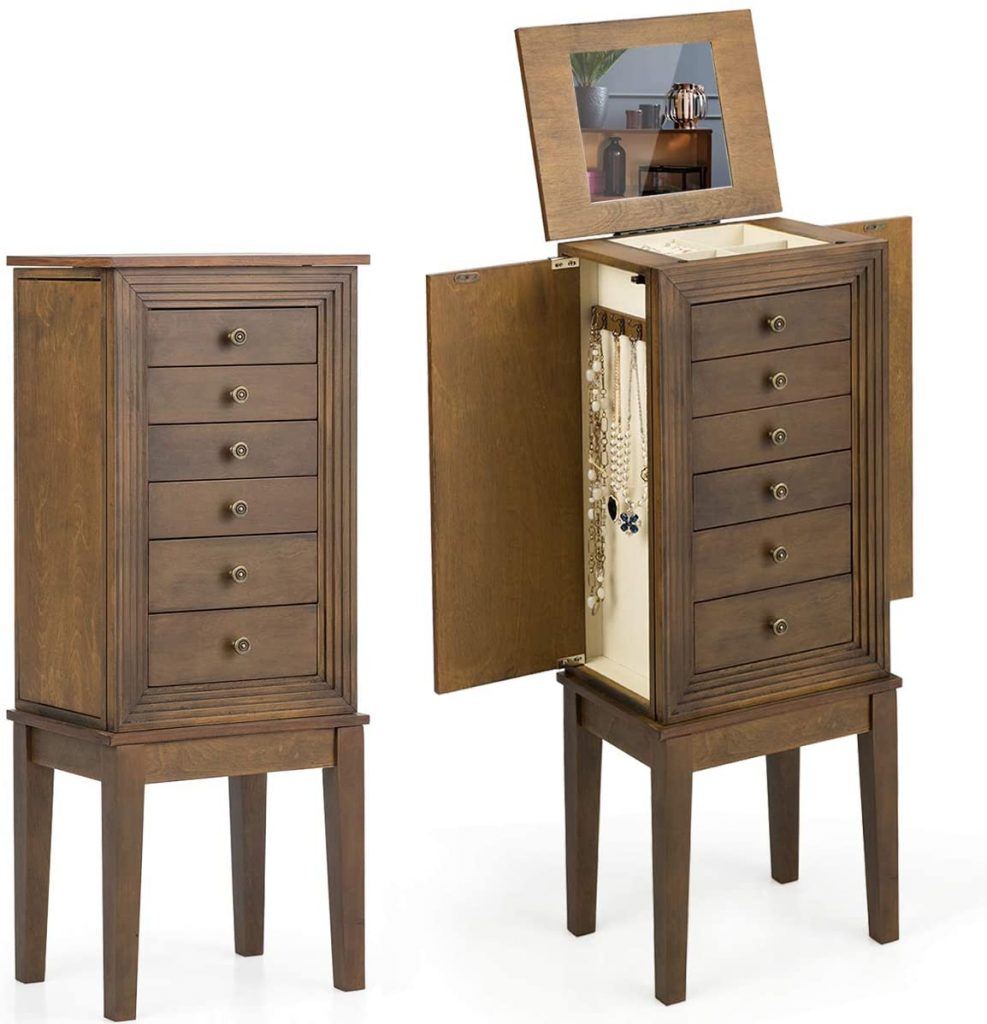 CHARMAID Standing Jewelry Cabinet Armoire