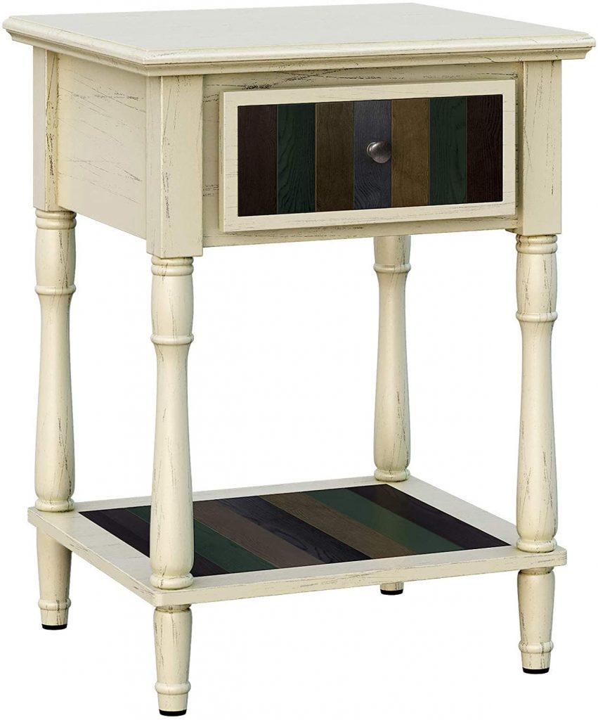 VASAGLE Nightstand with 1 Colorful Drawer