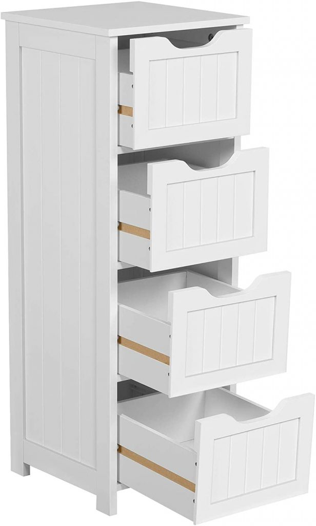 Yaheetech Bathroom Floor Storage Cabinet with 4 Drawers