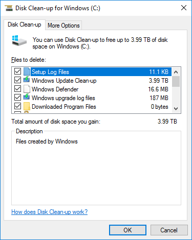Windows, Disk Cleanup