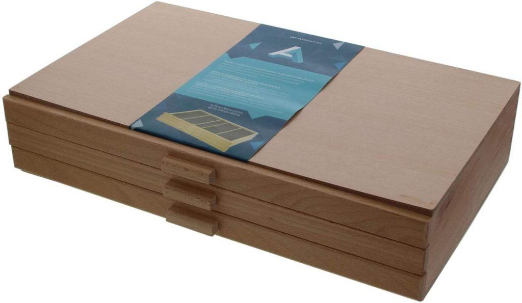 3 Drawer Wood Pastel Storage Box