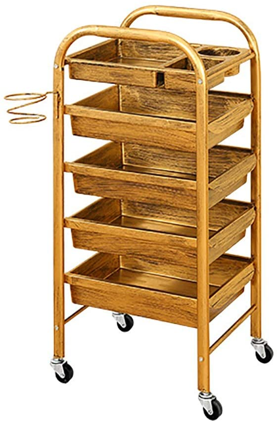 QTDS 4-Tier Beauty Salon Trolley with Drawers & Wheels