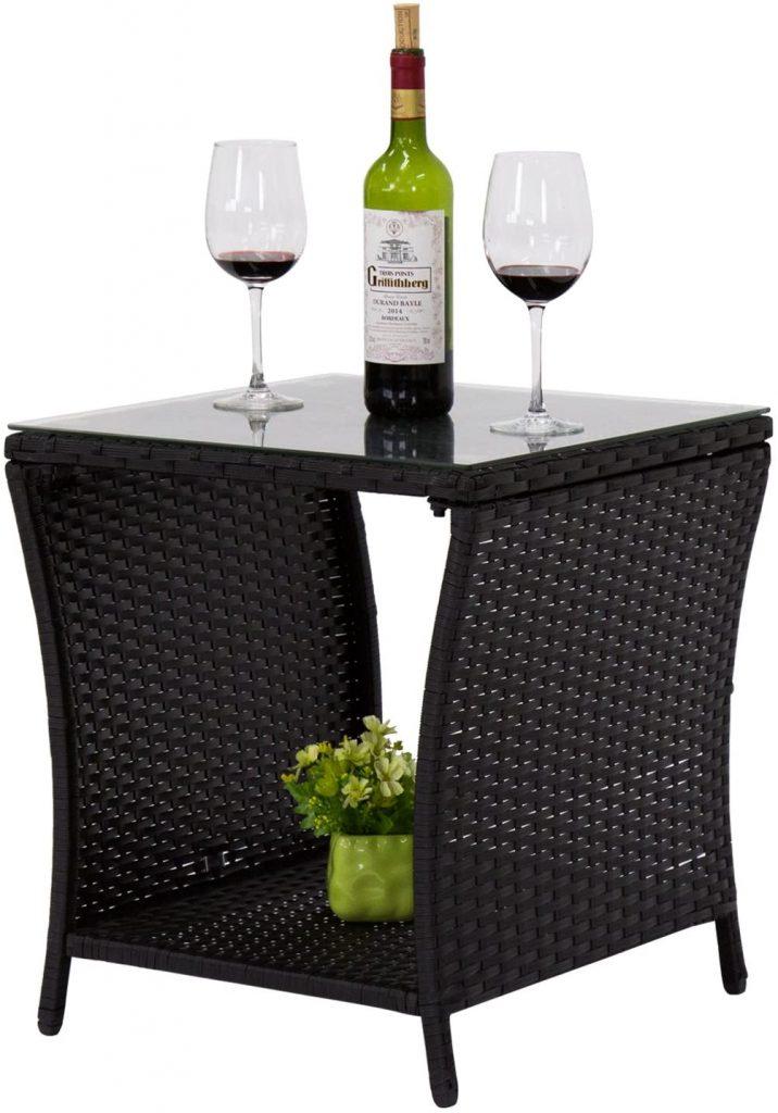 kinbor Black Outdoor Square Wicker Rattan Side Coffee Table