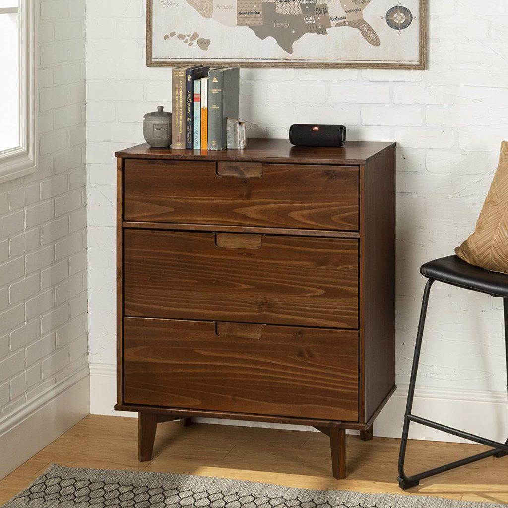 WE Furniture 3 Drawer Mid Century Modern Wood Dresser