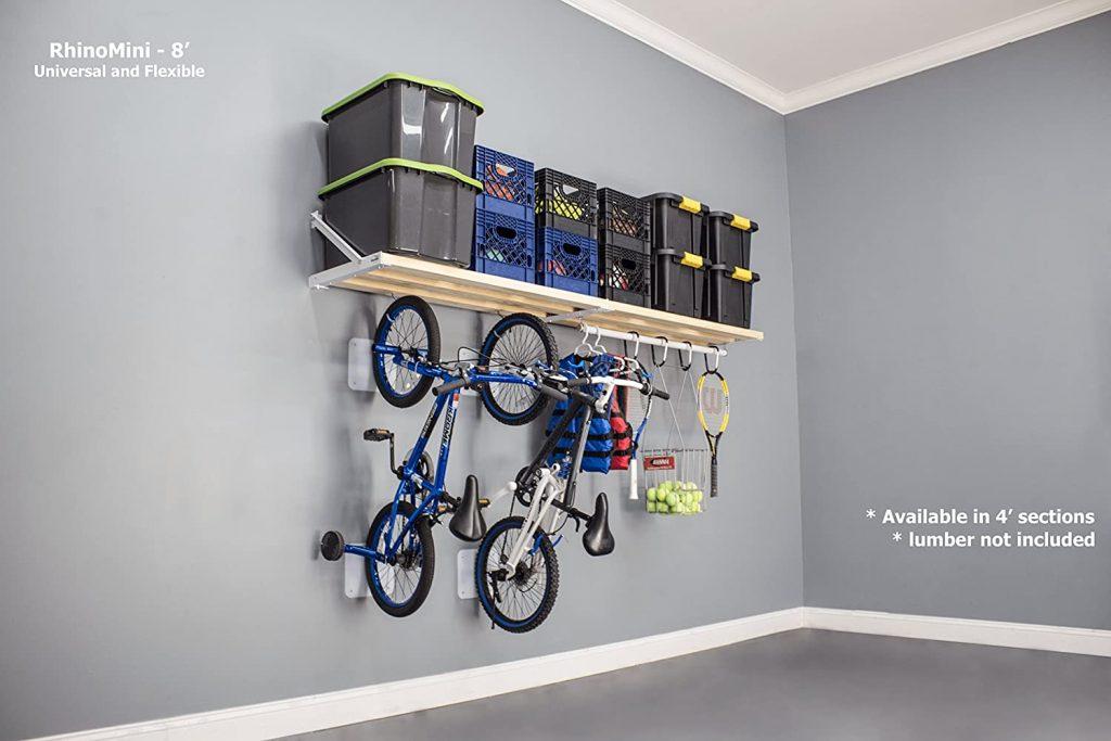 suspended garage shelves