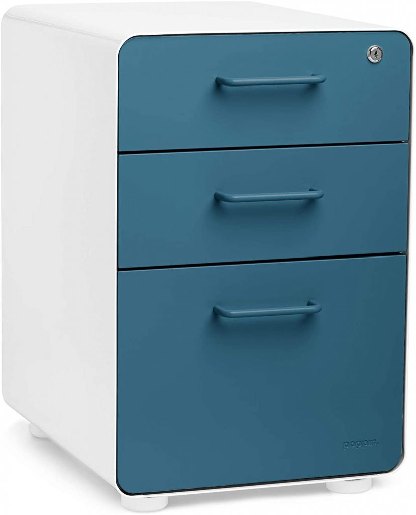 Poppin WhiteSlate Blue Stow 3-Drawer File Cabinet