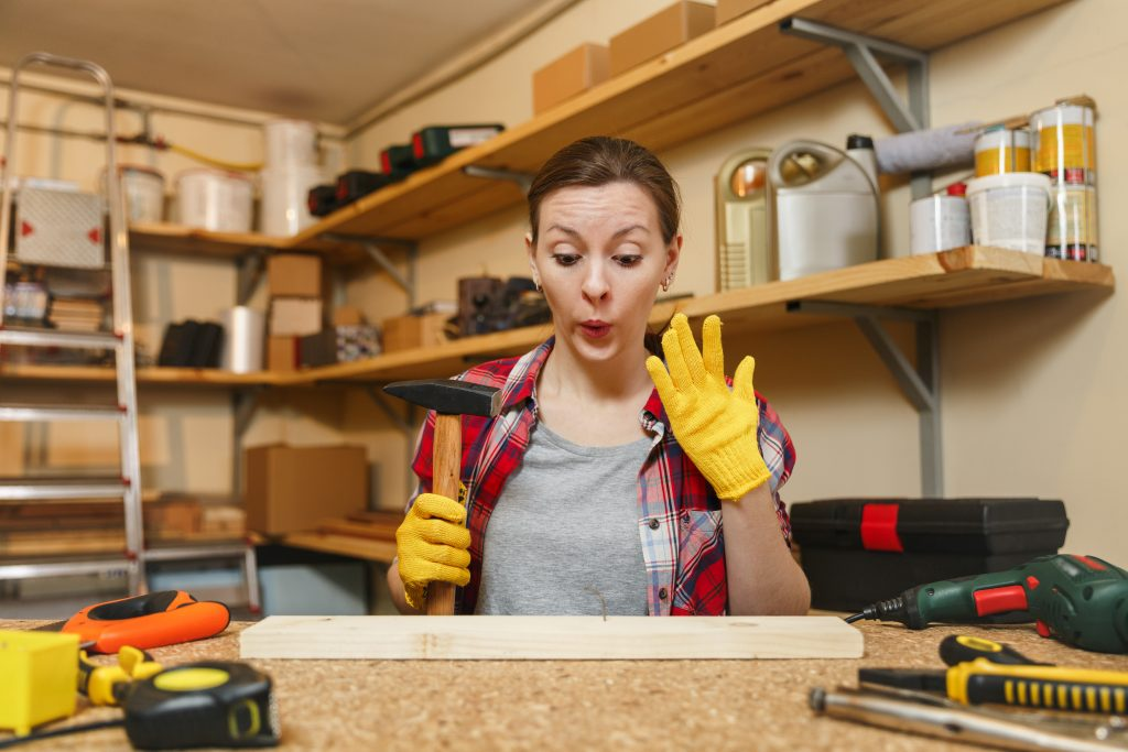 Woman working in a garage