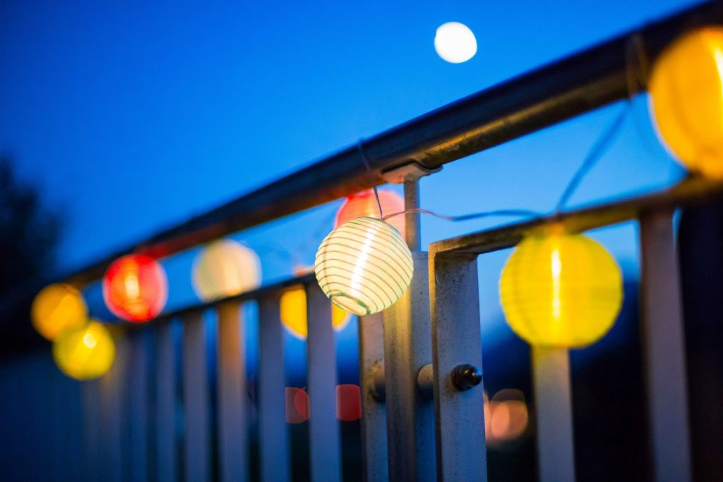 Paper lanterns on the balcony for a romantic feel