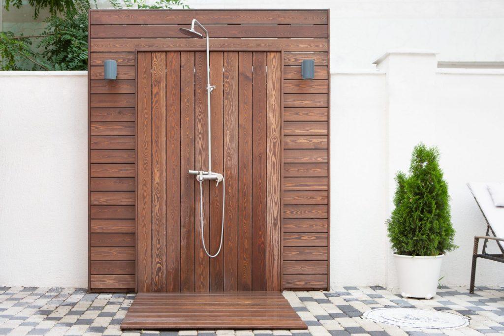 Brown Wood Outdoor Shower