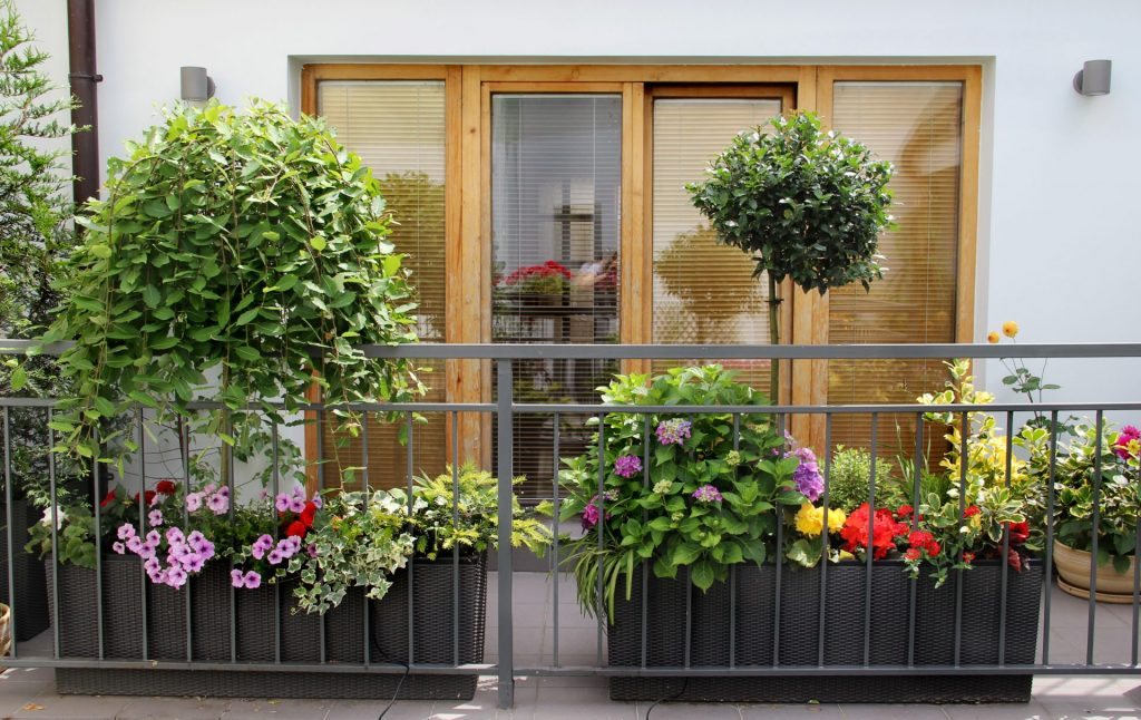 Beautiful modern balcony with a lot of flowers and herbs