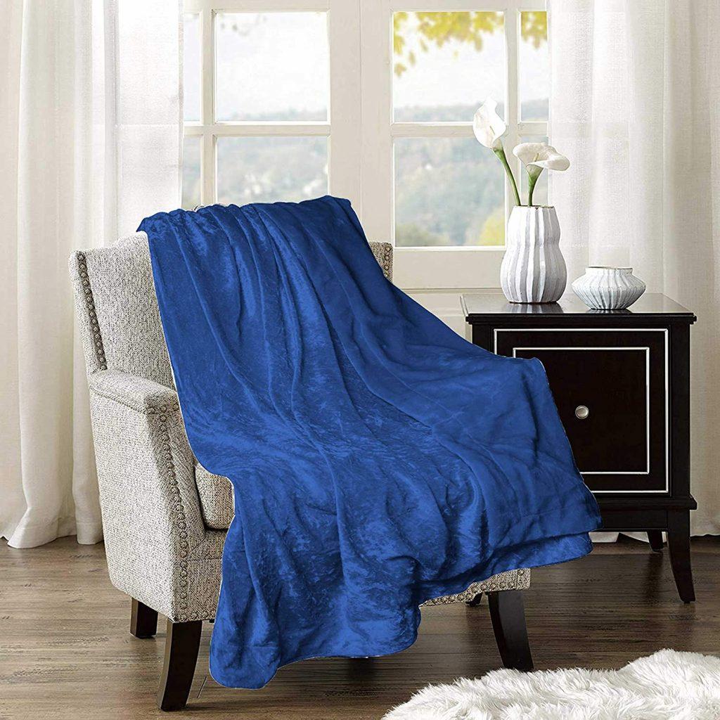 Adorn & Décor Crushed Velvet Reversible Plush Throw Blanket