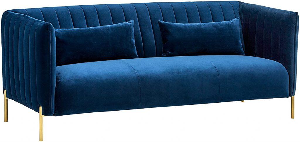 Amazon Brand - Rivet Frederick Mid-Century Modern Tufted Velvet Sectional Sofa Couch