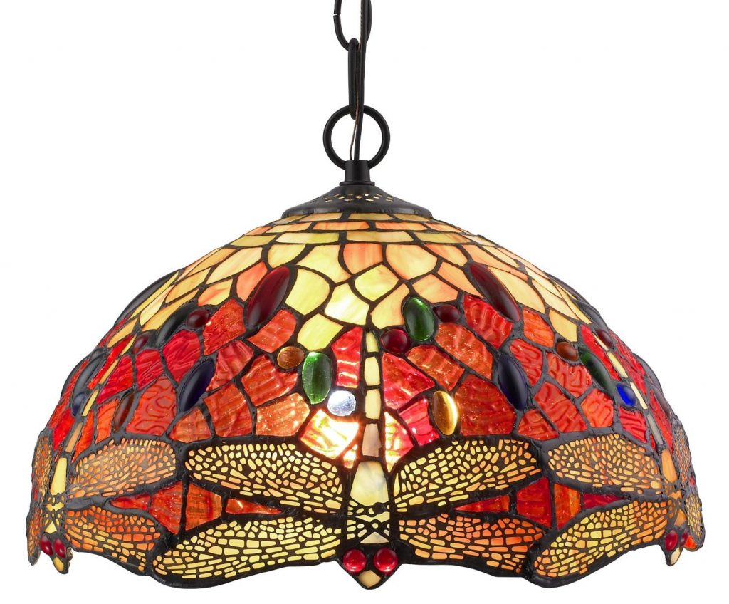 Amora Lighting Tiffany Style Stained Glass Ceiling Fixture