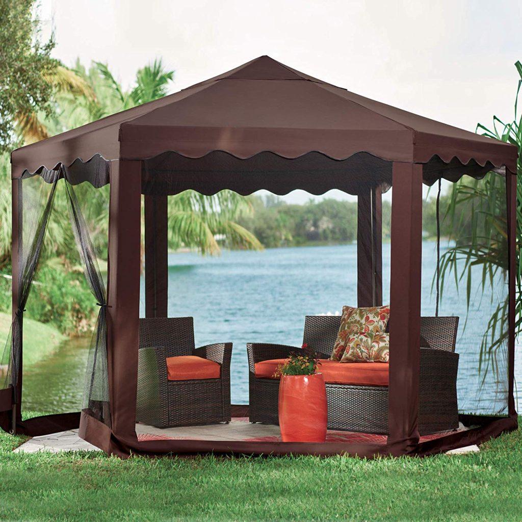 Brylane Home Waterproof Hexagon Gazebo