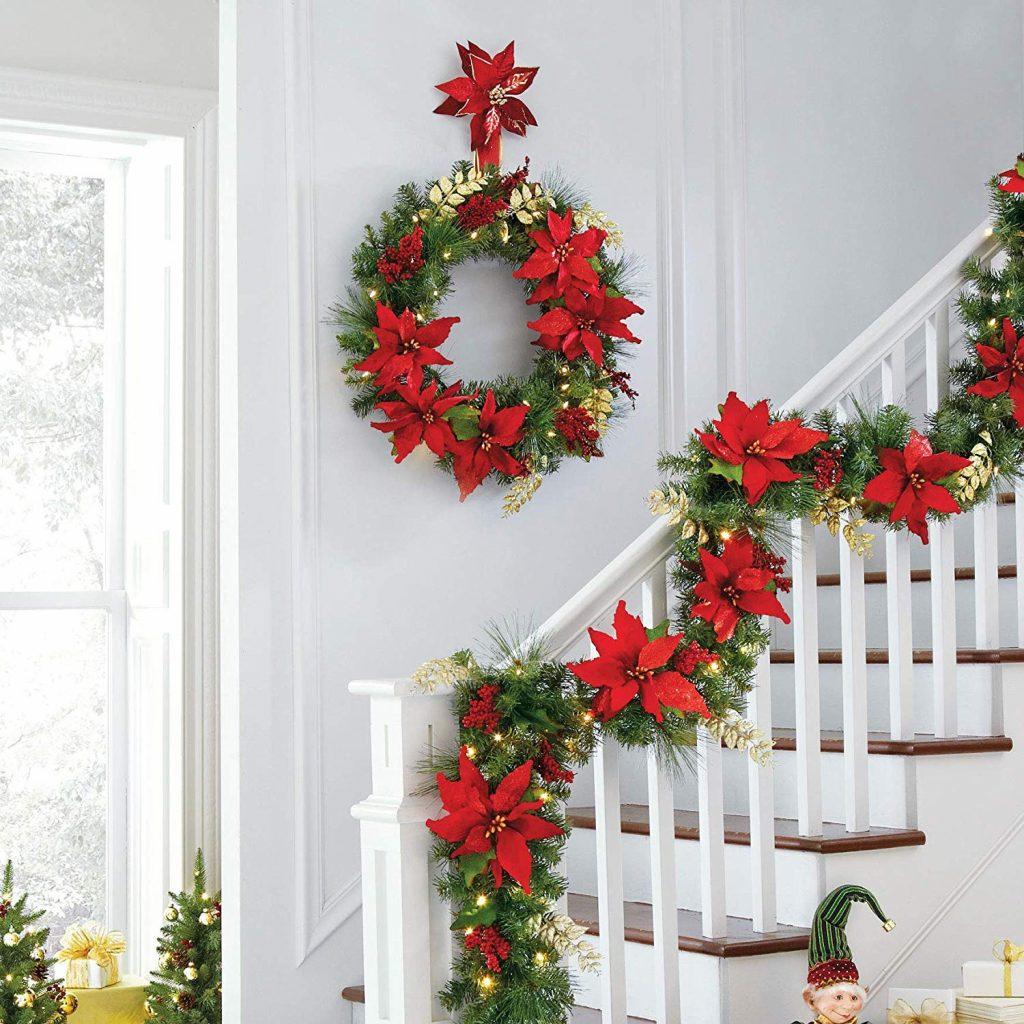 BrylaneHome Pre-Lit Poinsettia Wreath