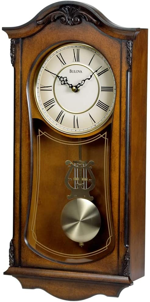 Bulova Analogue Wooden Chiming Clock