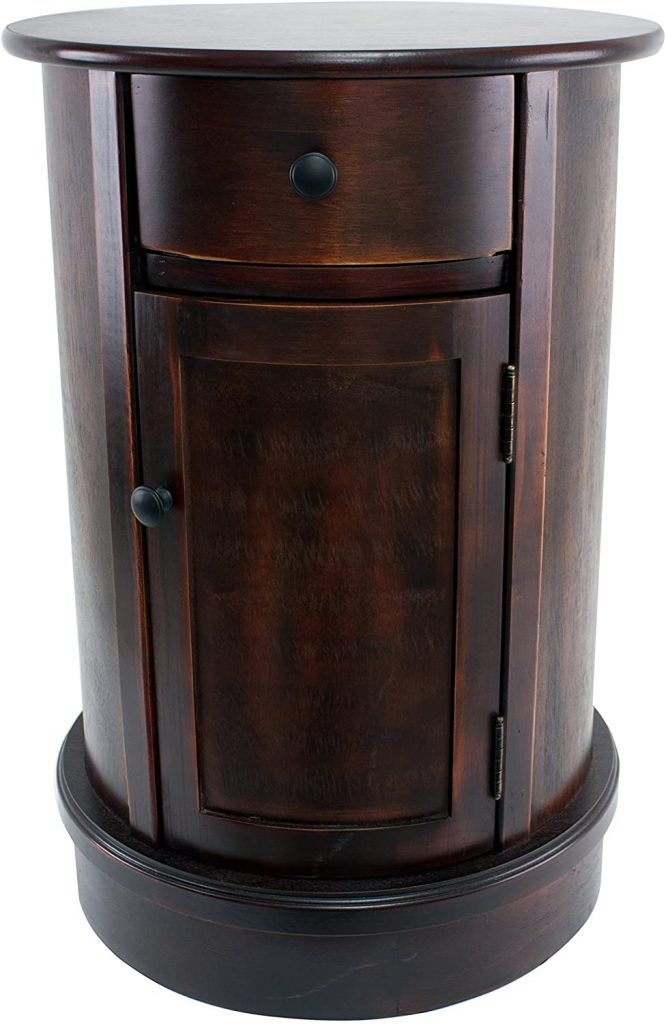 Décor Therapy Round Side Table with 1-Door and Drawer