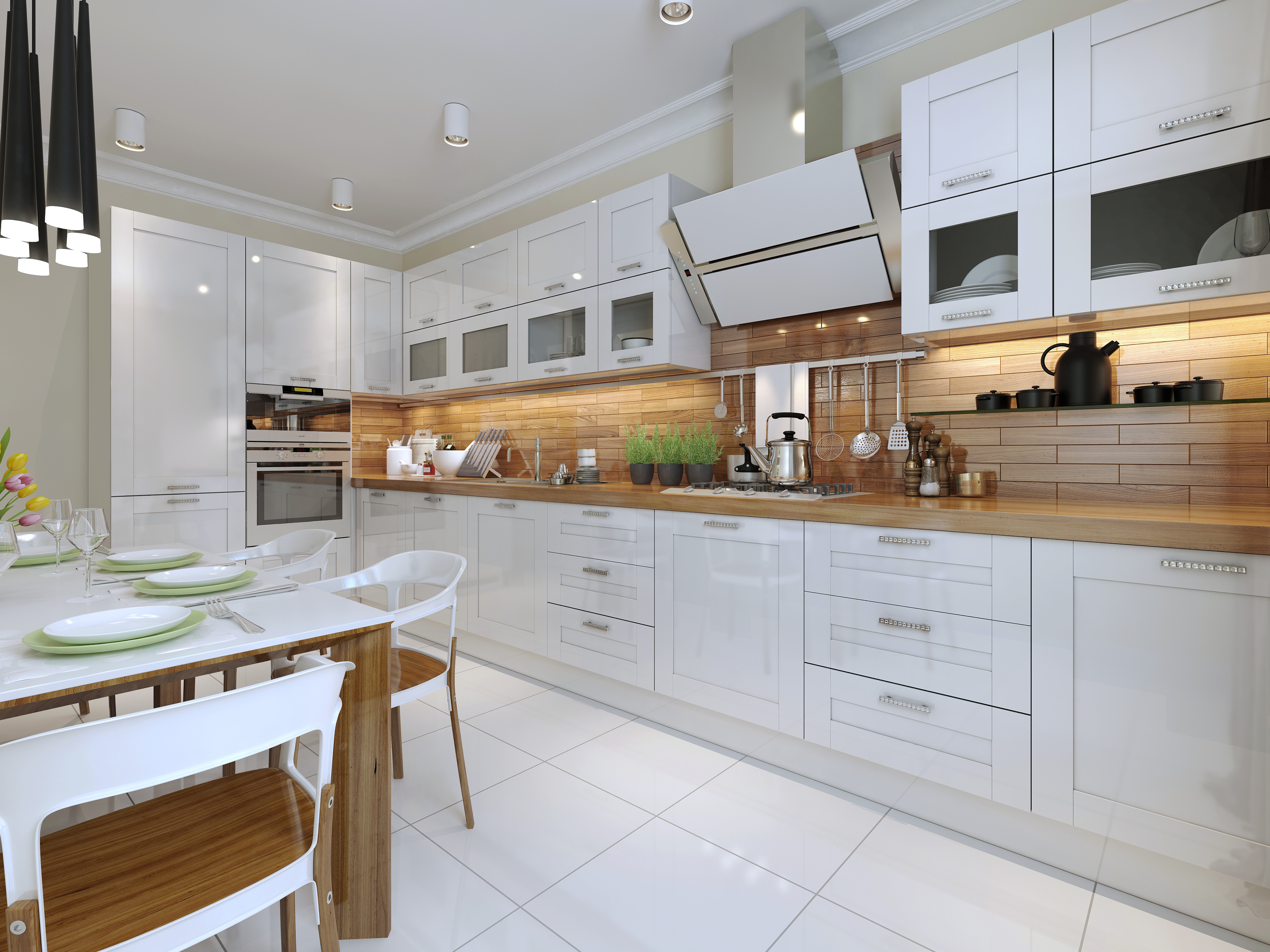 Classic Shaker Kitchen, Painted Shaker Kitchen in Ivory Oak