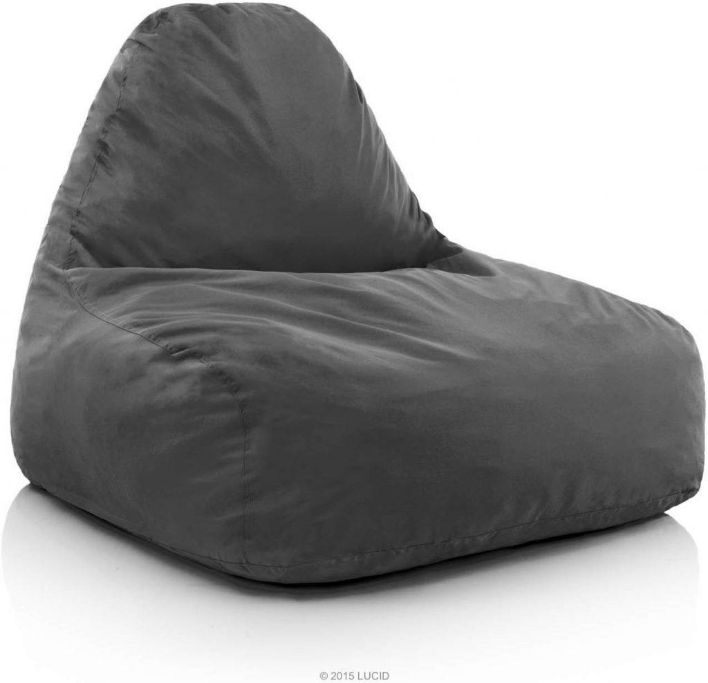 LUCID Oversized Shredded Foam Lounge Chair – Charcoal
