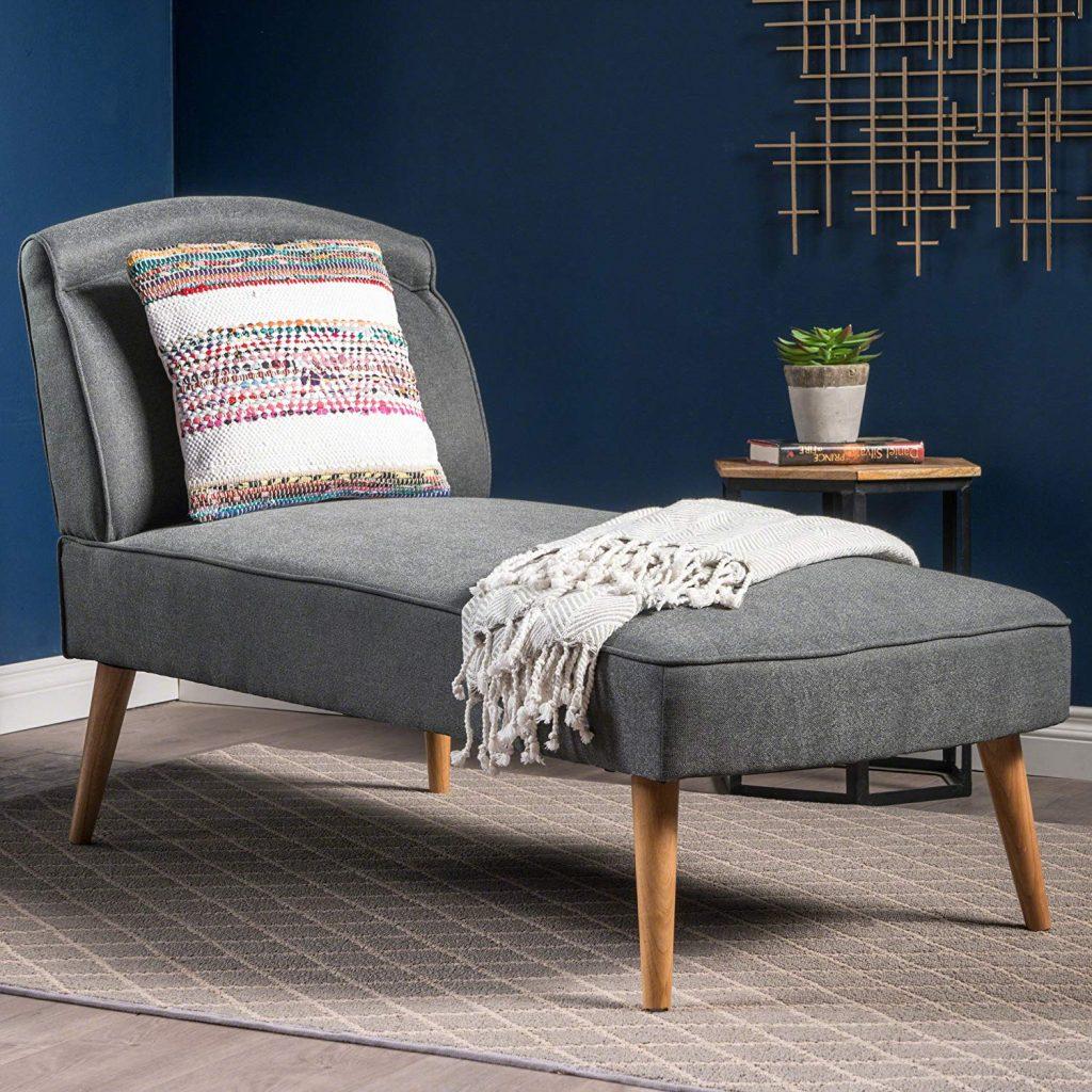 Mid Century Modern Slate Grey Fabric Chaise Lounge