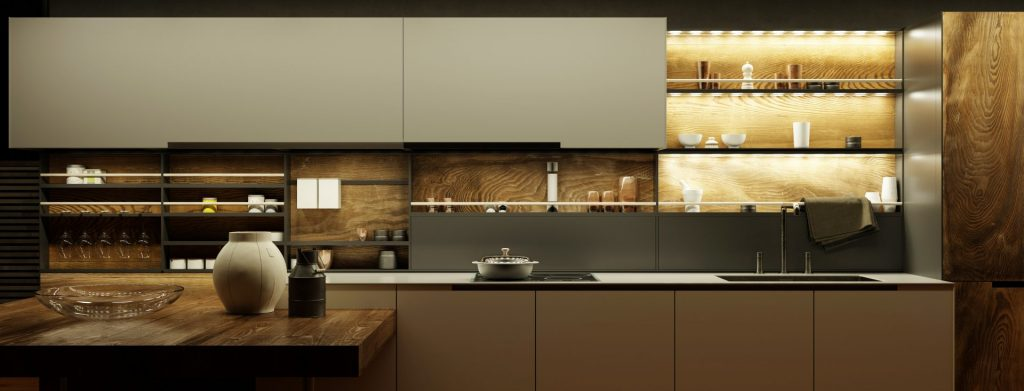 Open Kitchen Cabinet Display With Lighting