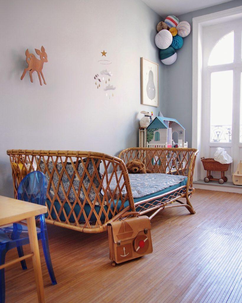 Rattan furniture in kids room