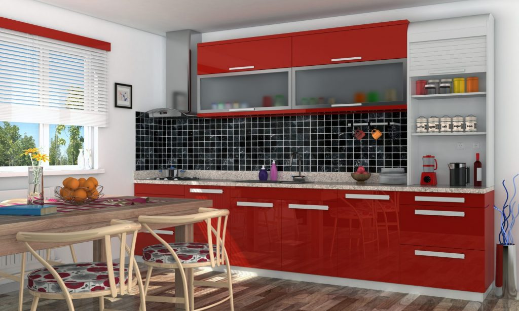 Red Kitchen Cabinets With A Glossy Finish