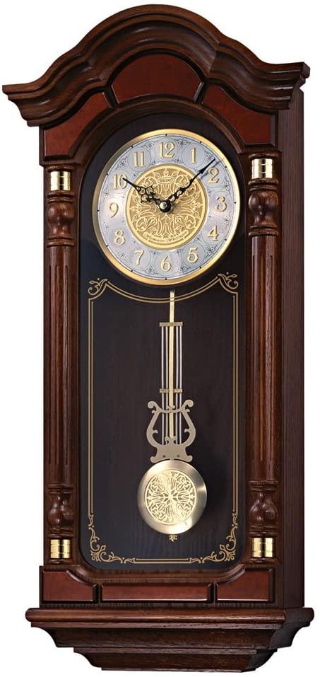 Seiko Dark Brown Solid Oak Case Wall Clock