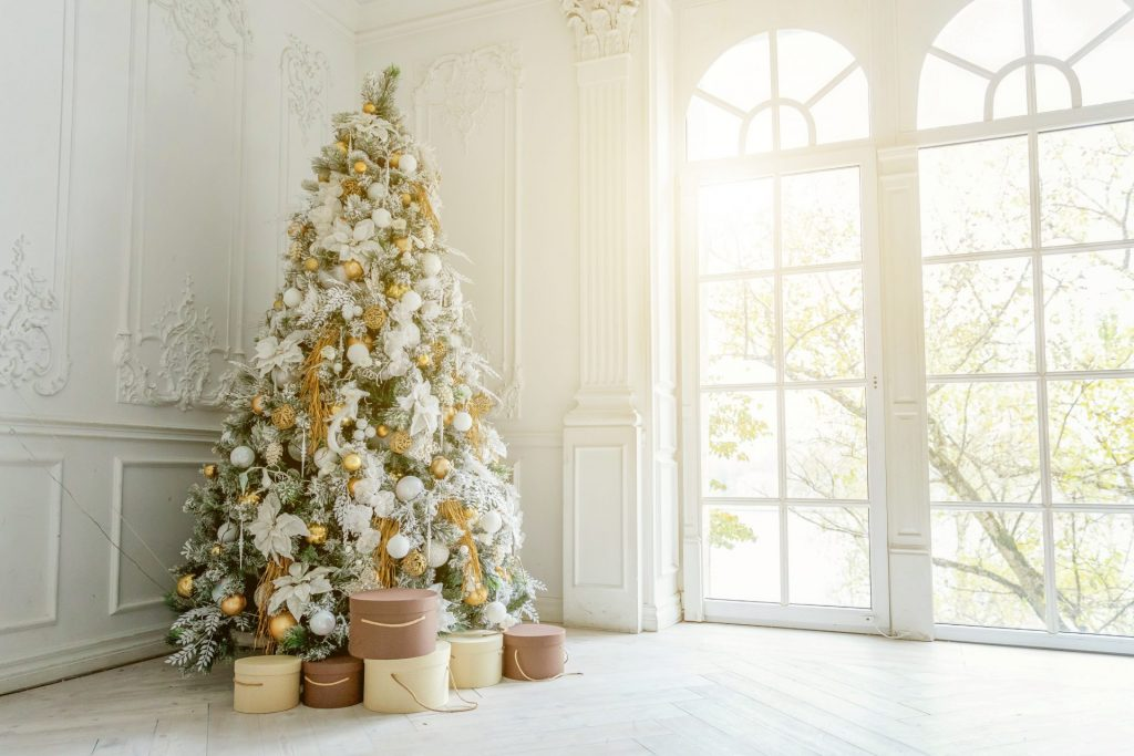 White Christmas Tree With Golden Decorations