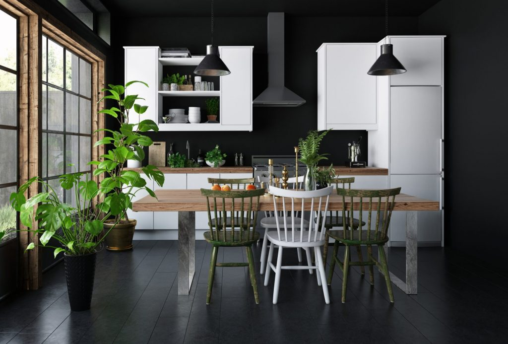 White Kitchen Cabinets With Black Walls And Floors