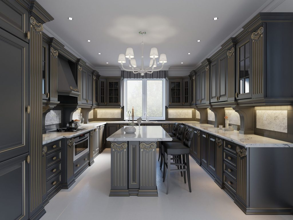 White Marble With Dark Cabinets For Pure Elegance