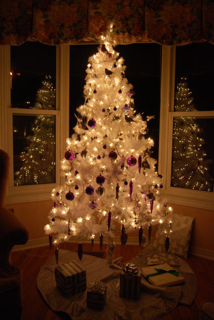 Illuminated White Christmas Tree With Led Lights